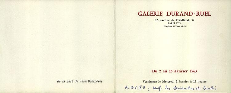 Exposition à la galerie Durand-Ruel