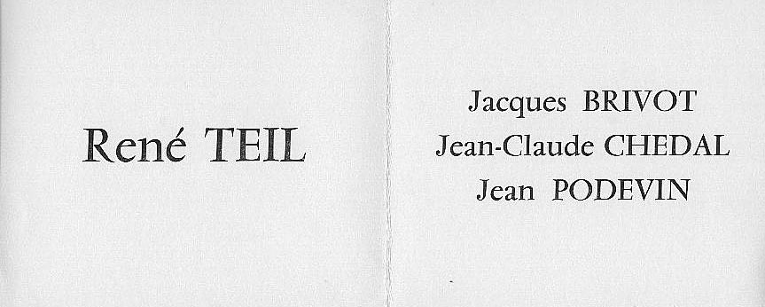 Plaquette de l'exposition à la galerie Durand-Ruel (1963)