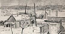 Banlieue sous la neige