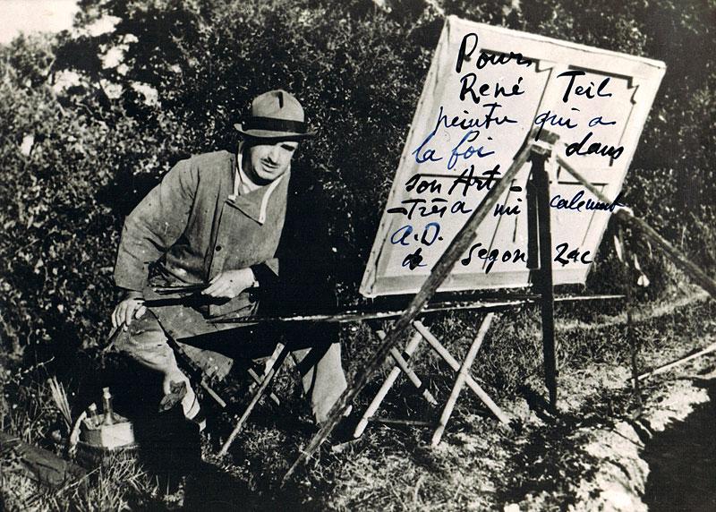 Photo d'André Dunoyer de Segonzac adressée à René Teil comme carte de voeux (Janvier 1956)